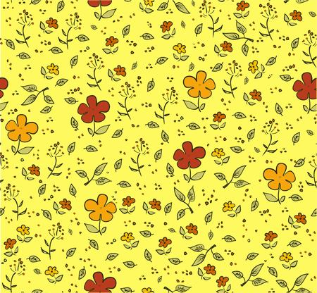 debonair: Floral cheerful yellow seamless background with red and orange flowers
