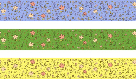 horizontal border: Horizontal border with flowers with three different colors Illustration