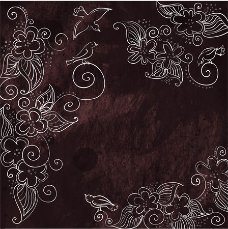 pensil: White ornament with flowers and birds on black background in vintage style Illustration