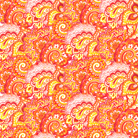 fabric patterns: Seamless ornamental ethnic background with indian oriental floral ornament