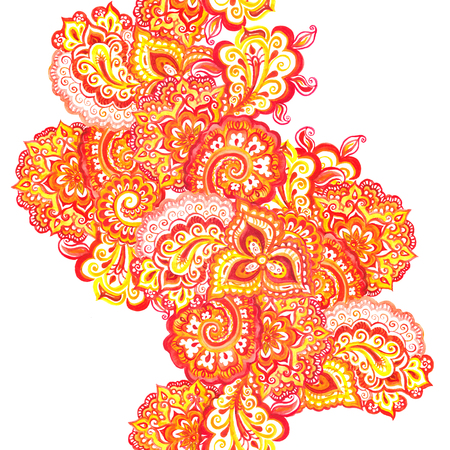 disegni cachemire: Seamless ornamentali sfondo etnico con indiano ornamento floreale orientale Archivio Fotografico