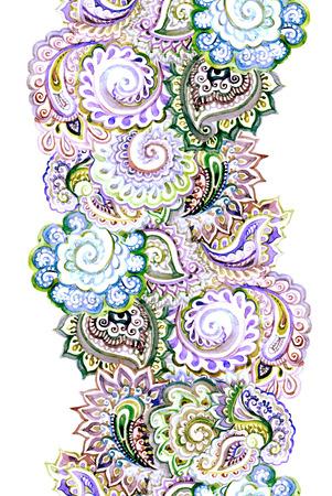 borde de flores: Seamless antecedentes étnicos ornamental con indio ornamento floral oriental