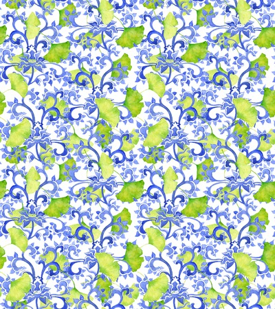 nature pattern: Vintage asian ornament and green ginko leaves. Seamless watercolor ornament