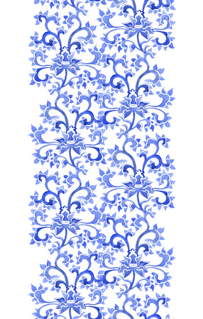 winter flower: Floral chinese ornamental repeating pattern. Watercolor oriental ornament