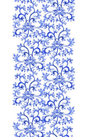 borde de flores: Patr�n de repetici�n floral chino ornamental. Acuarela oriental ornamento