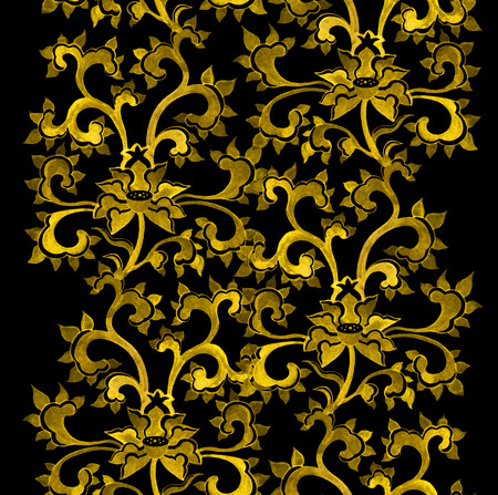 luxuriance: Repeat floral ornamental border with chinese golden flowers. Watercolor ornament Stock Photo