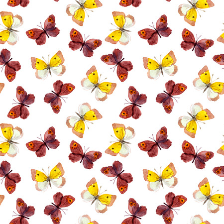 yellow butterflies: Seamless tiled background with bright watercolor hand painted pretty purple and yellow butterflies Stock Photo