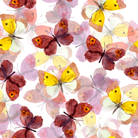 purple butterfly: Seamless tiled background with bright watercolor hand painted pretty purple and yellow butterflies Stock Photo