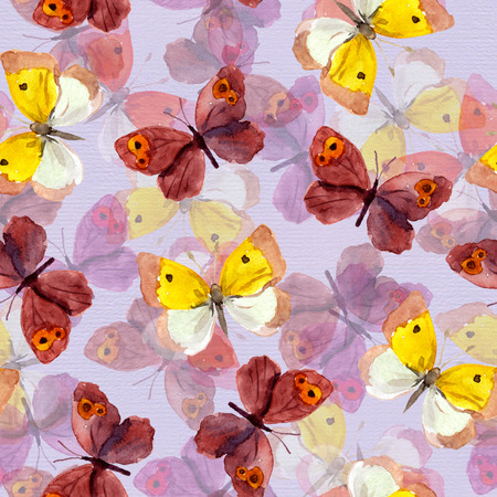 Seamless tiled background with bright watercolor hand painted pretty purple and yellow butterflies Stock Photo