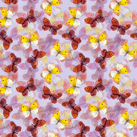 mariposas amarillas: Seamless tiled background with bright watercolor hand painted pretty purple and yellow butterflies Foto de archivo