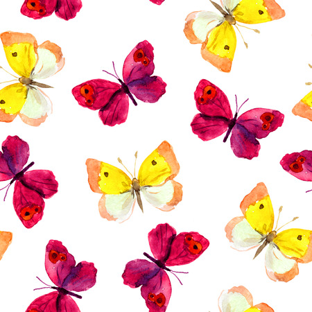 aquarel: Seamless tiled background with bright watercolor hand painted pretty purple and yellow butterflies Stock Photo