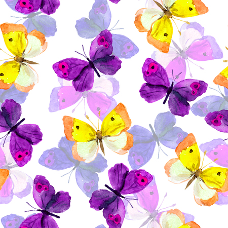 elegant backgrounds: Seamless tiled background with bright watercolor hand painted pretty purple and yellow butterflies Stock Photo