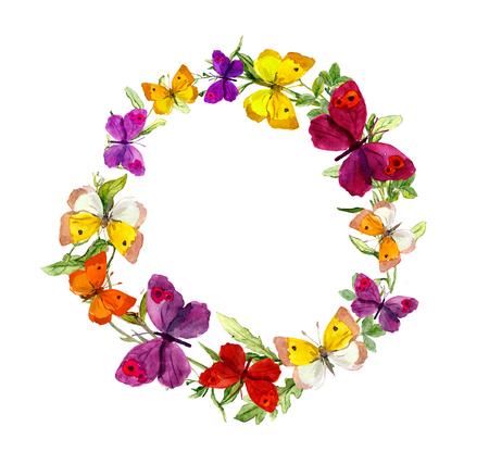 borde de flores: Patrón sin fisuras con la mano decorativo pintado dibujar mariposas Foto de archivo