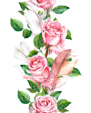 feathering: Repeating floral pattern with pink rose flowers and feathers. Watercolor