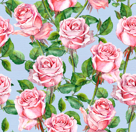 aquarel: Repeating floral pattern with pink rose flowers. Watercolor