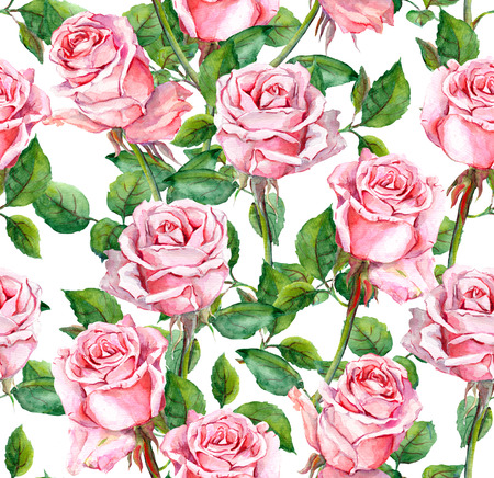 Repeating floral pattern with pink rose flowers. Watercolor