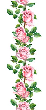 ピンクのバラの花で花のパターンを繰り返します。水彩 写真素材