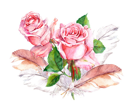 Pink roses and leaves and feathers set. Watercolor hand made Stock Photo