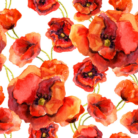 Seamless floral pattern with poppies. Watercolour hand made design