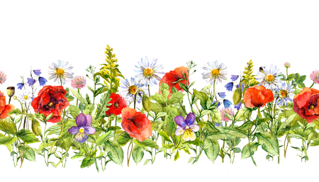 herbal background: Floral horizontal border for fashion design. Watercolor wild flowers, grass, herbs Stock Photo