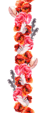 border line: Floral seamless watercolor frame border with red and pink flowers poppy, rose and feathers, Aquarel