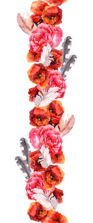 dibujos lineales: Frontera floral del marco de la acuarela transparente con flores rojas y rosadas de la amapola, rosa y plumas, Aquarel