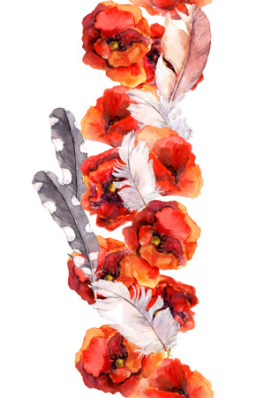 aquarel: Floral seamless watercolor frame border with red and pink flowers poppy, rose and feathers, Aquarel