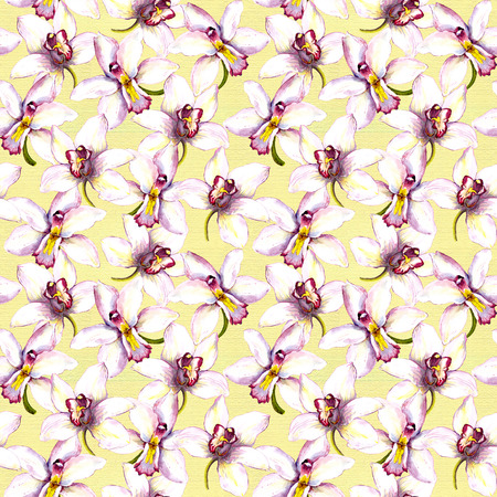 textile background: Seamless floral background with orchid flowers. Hand painted watercolor drawing Stock Photo