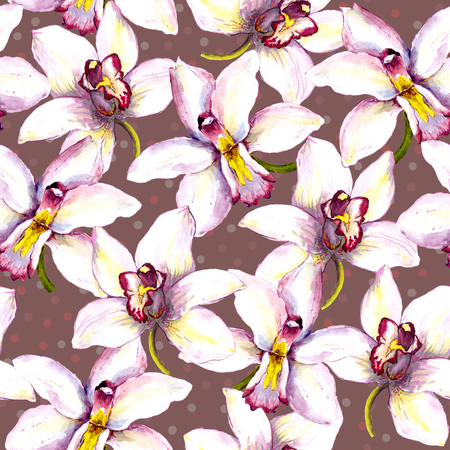 aquarel: Seamless floral background with orchid flowers. Hand painted watercolor drawing Stock Photo