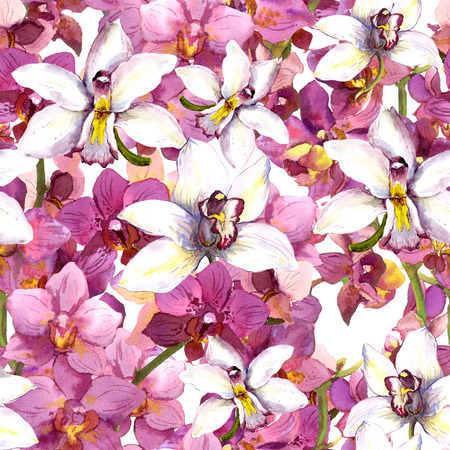 Seamless floral background with orchid flowers. Hand painted watercolor drawing Фото со стока