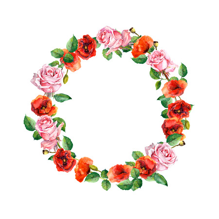 circle flower: Rose and poppy flowers. Floral wreath for wedding card or Valentine day. Watercolor circle border