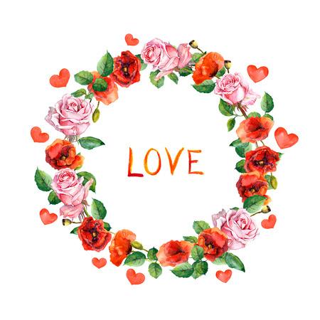 marcos redondos: Rose y amapola flores. Guirnalda floral para tarjeta de boda o día de San Valentín. Acuarela círculo frontera