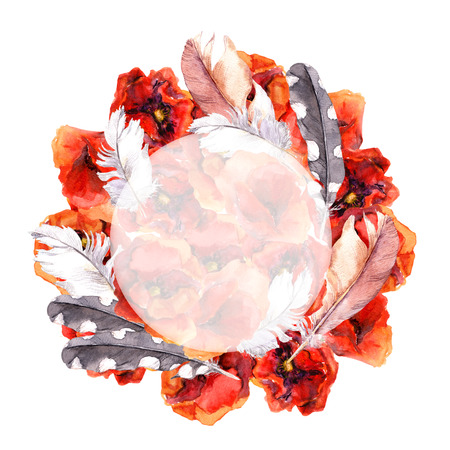 aquarelle: Watercolor painted floral round wreath with bright poppy flowers. Aquarelle art design for gretting cards