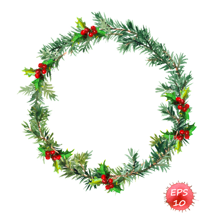 New year wreath - fir tree and mistletoe. Watercolor vector art