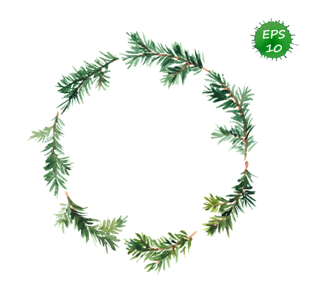 New year wreath - fir tree wreath. Watercolor vector art