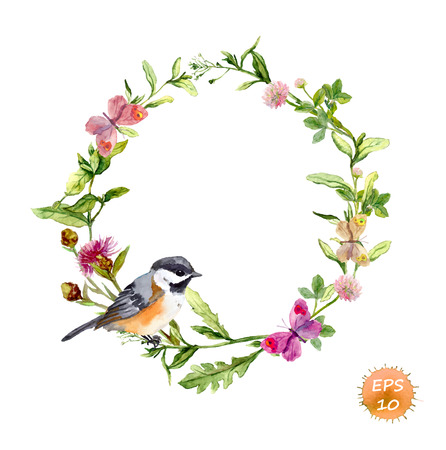 birds: Wreath border frame with wild herbs, meadow flowers, butterflies and bird. Watercolor vector Illustration