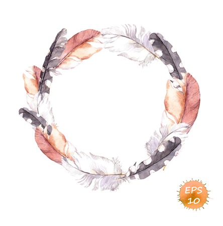 Feathers. Vintage wreath border in boho style. Watercolor vector for fashion design Иллюстрация