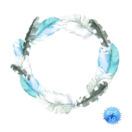 bird feathers: Feathers of blue bird. Wreath border. Watercolor vector for fashion design