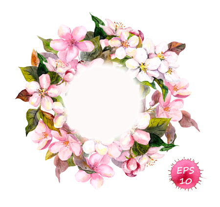 Frame wreath with cherry, apple, almond flowers blossom. Watercolor vector