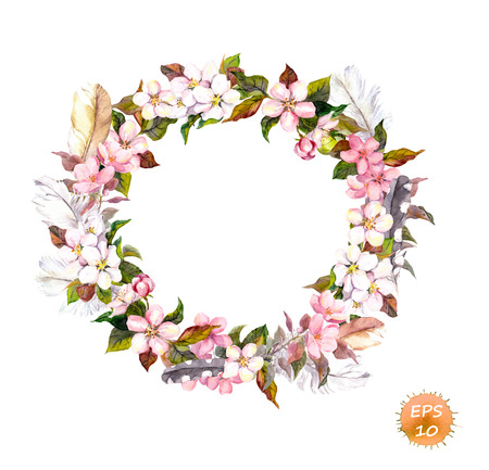 sakura flowers: Vintage frame - wreath in boho style. Feathers and flowers cherry, apple flower blossom. Watercolor isolated vector for fashion design
