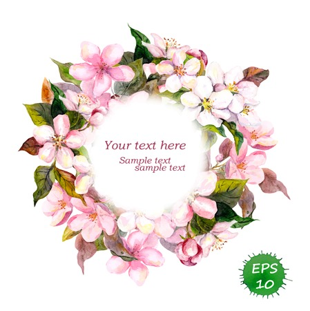 aquarel: Floral round wreath with pink flowers apple, cherry blossom for elegant vintage and fashion design. Watercolor vector Illustration