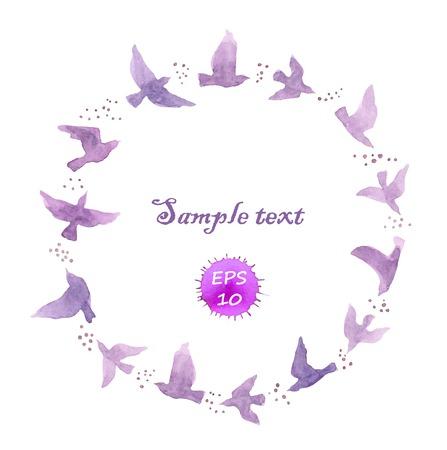 Wreath border with flying violet birds. Watercolor vector
