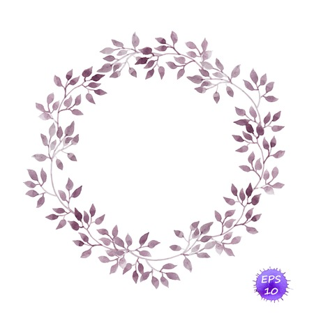 Vintage circle wreath with laurel leaves. Watercolor vector isolated Illustration