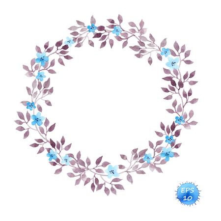 Bloemen kroon frame met leuke bloemen en bladeren voor het interieur. geïsoleerd Watercolor vector