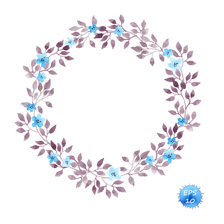 Floral wreath frame with cute flowers and leaves for interior design. Watercolor vector isolated