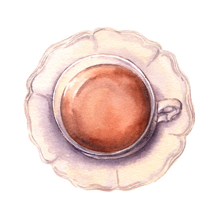 afternoon: Vintage cup and saucer in provence style with tea or coffee. Watercolor