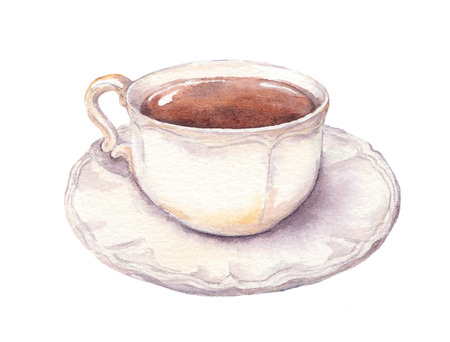 Top view above of cup wit tea or coffee and saucer. Watercolor.