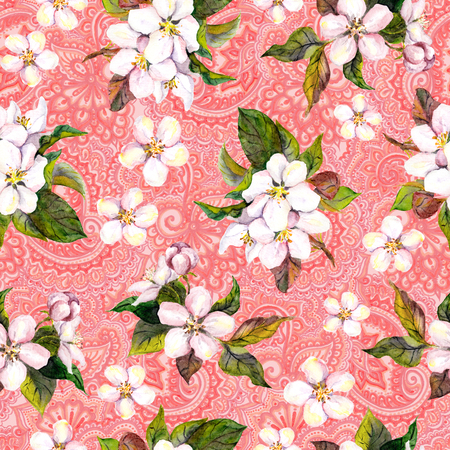 china watercolor paint: Repeating pattern with spring flowers and ethnic filigree ornament
