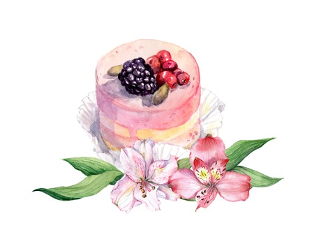 ply: Cake with berries and pink fruit spring flowers. Watercolor Stock Photo