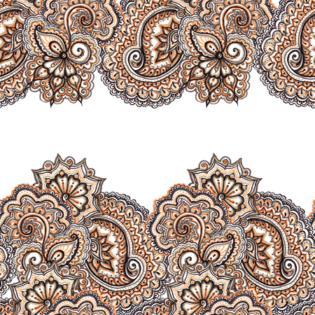 ornamental design: Marker painted abstract ethnic ornament. Repeating decorative abstract pattern in brown - blue colors. Stock Photo